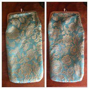 Vintage Turquoise & Gold Lame Eyeglasses Case